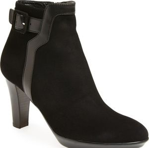 Aquatalia rae suede leather buckle booties